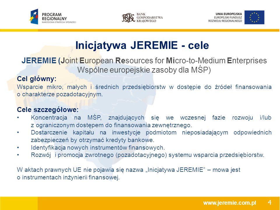 Inicjatywa JEREMIE - cele JEREMIE (Joint European Resources for Micro-to-Medium Enterprises Wspólne europejskie zasoby dla MŚP) Cel główny: Wsparcie mikro, małych i średnich przedsiębiorstw w dostępie do źródeł finansowania o charakterze pozadotacyjnym.