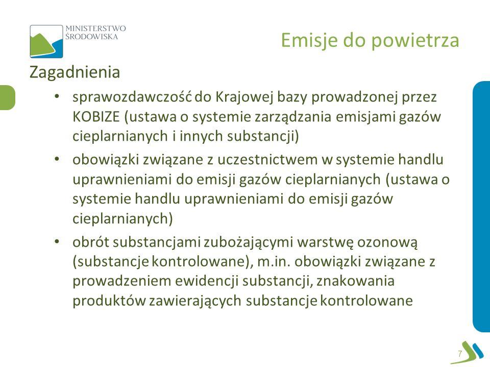 Emisje do powietrza Zagadnienia sprawozdawczość do Krajowej bazy prowadzonej przez KOBIZE (ustawa o systemie zarządzania emisjami gazów cieplarnianych