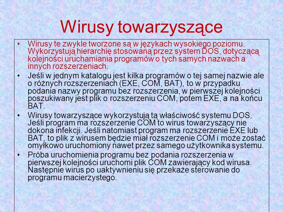 Wirusy towarzyszące Wirusy te zwykle tworzone są w językach wysokiego poziomu. Wykorzystują hierarchię stosowaną przez system DOS, dotyczącą kolejnośc