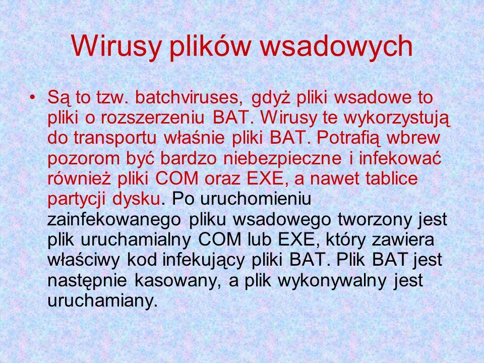 Wirusy plików wsadowych Są to tzw.batchviruses, gdyż pliki wsadowe to pliki o rozszerzeniu BAT.