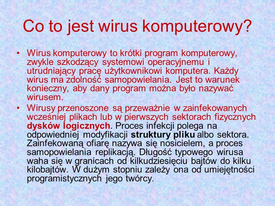 Co to jest wirus komputerowy? Wirus komputerowy to krótki program komputerowy, zwykle szkodzący systemowi operacyjnemu i utrudniający pracę użytkownik