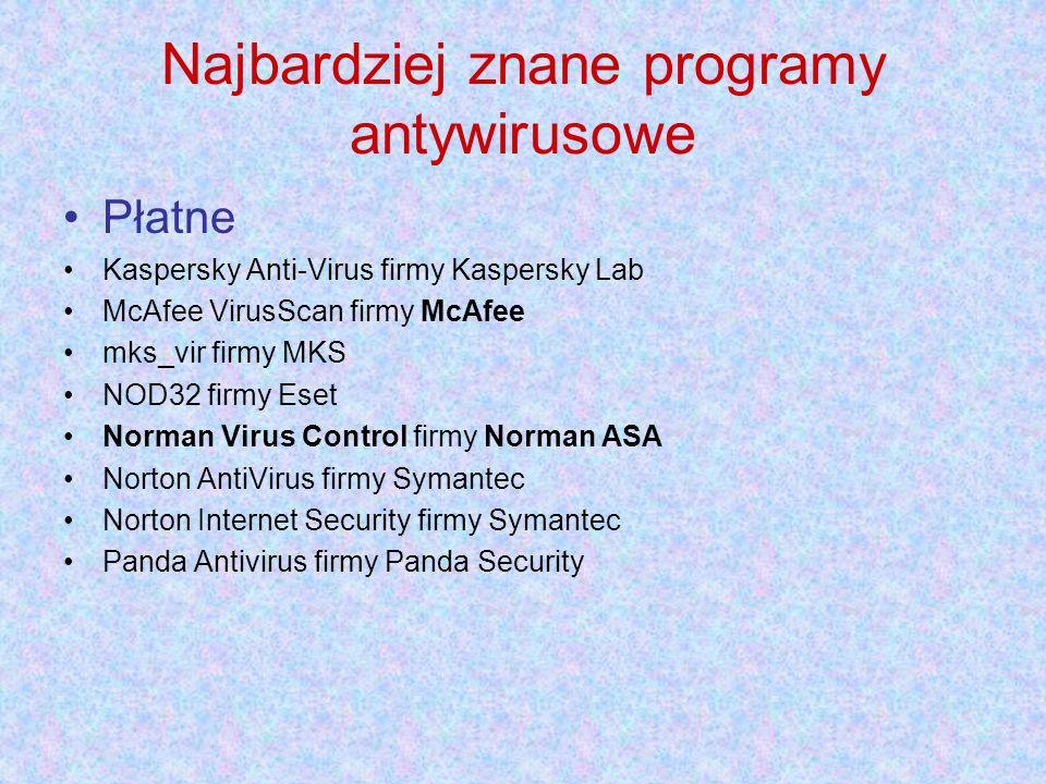 Najbardziej znane programy antywirusowe Płatne Kaspersky Anti-Virus firmy Kaspersky Lab McAfee VirusScan firmy McAfee mks_vir firmy MKS NOD32 firmy Eset Norman Virus Control firmy Norman ASA Norton AntiVirus firmy Symantec Norton Internet Security firmy Symantec Panda Antivirus firmy Panda Security