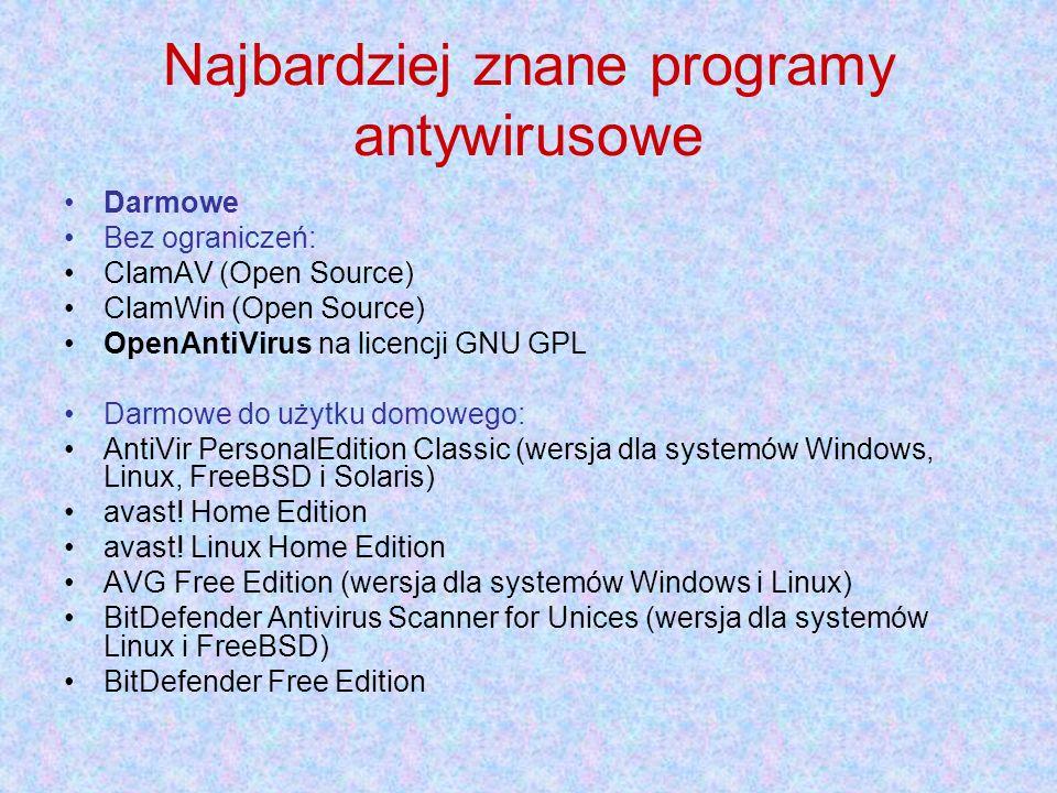 Najbardziej znane programy antywirusowe Darmowe Bez ograniczeń: ClamAV (Open Source) ClamWin (Open Source) OpenAntiVirus na licencji GNU GPL Darmowe do użytku domowego: AntiVir PersonalEdition Classic (wersja dla systemów Windows, Linux, FreeBSD i Solaris) avast.