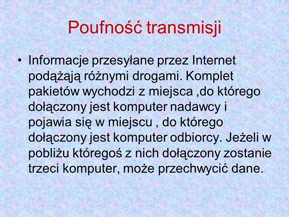 Poufność transmisji Informacje przesyłane przez Internet podążąją różnymi drogami. Komplet pakietów wychodzi z miejsca,do którego dołączony jest kompu