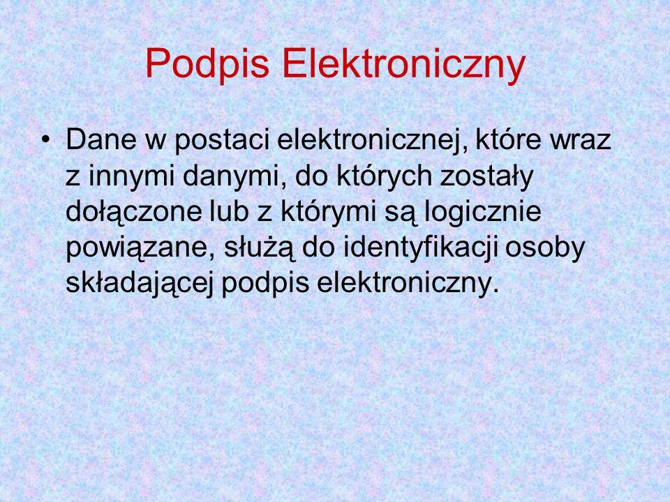 Podpis Elektroniczny Dane w postaci elektronicznej, które wraz z innymi danymi, do których zostały dołączone lub z którymi są logicznie powiązane, służą do identyfikacji osoby składającej podpis elektroniczny.