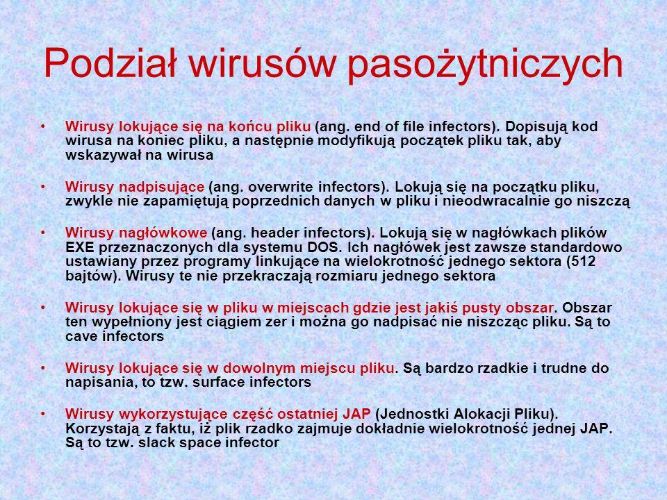 Podział wirusów pasożytniczych Wirusy lokujące się na końcu pliku (ang. end of file infectors). Dopisują kod wirusa na koniec pliku, a następnie modyf