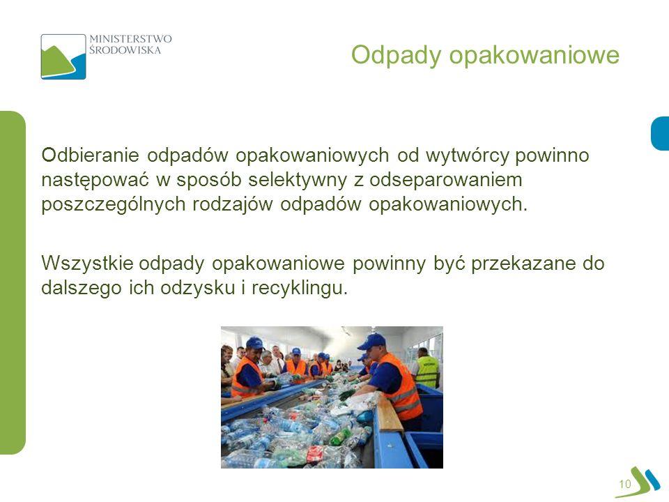 Odpady opakowaniowe 10 Odbieranie odpadów opakowaniowych od wytwórcy powinno następować w sposób selektywny z odseparowaniem poszczególnych rodzajów o