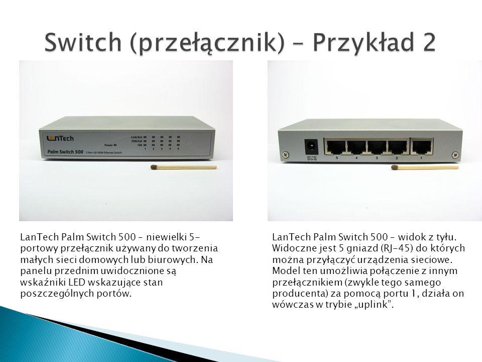 LanTech Palm Switch 500 – niewielki 5- portowy przełącznik używany do tworzenia małych sieci domowych lub biurowych. Na panelu przednim uwidocznione s