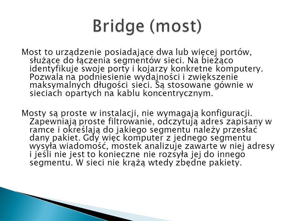 Most to urządzenie posiadające dwa lub więcej portów, służące do łączenia segmentów sieci. Na bieżąco identyfikuje swoje porty i kojarzy konkretne kom