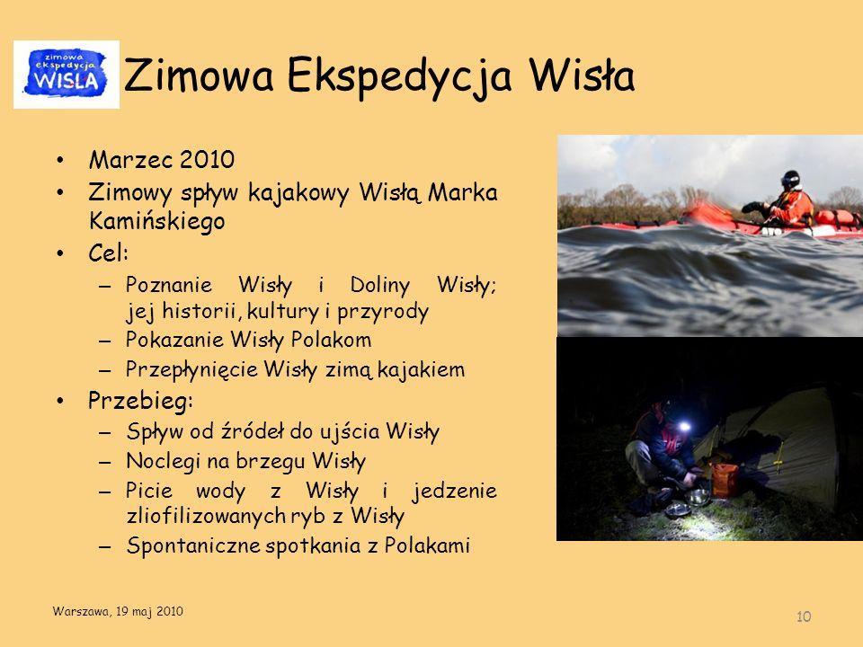 Zimowa Ekspedycja Wisła Marzec 2010 Zimowy spływ kajakowy Wisłą Marka Kamińskiego Cel: – Poznanie Wisły i Doliny Wisły; jej historii, kultury i przyro