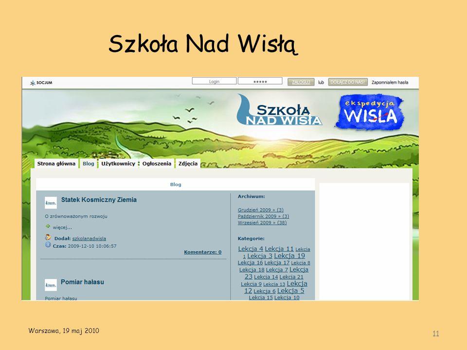 Szkoła Nad Wisłą 11 Warszawa, 19 maj 2010
