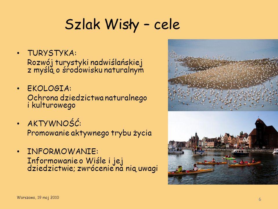 Szlak Wisły – cele TURYSTYKA: Rozwój turystyki nadwiślańskiej z myślą o środowisku naturalnym EKOLOGIA: Ochrona dziedzictwa naturalnego i kulturowego