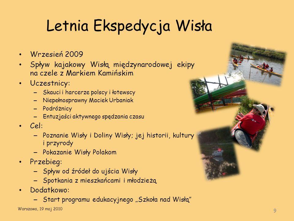 Letnia Ekspedycja Wisła Wrzesień 2009 Spływ kajakowy Wisłą międzynarodowej ekipy na czele z Markiem Kamińskim Uczestnicy: – Skauci i harcerze polscy i