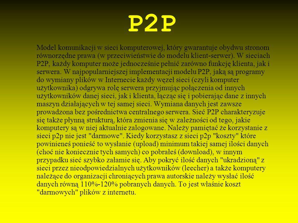 P2P Model komunikacji w sieci komputerowej, który gwarantuje obydwu stronom równorzędne prawa (w przeciwieństwie do modelu klient-serwer). W sieciach