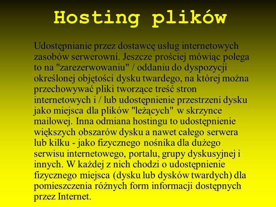 Hosting plików Udostępnianie przez dostawcę usług internetowych zasobów serwerowni. Jeszcze prościej mówiąc polega to na