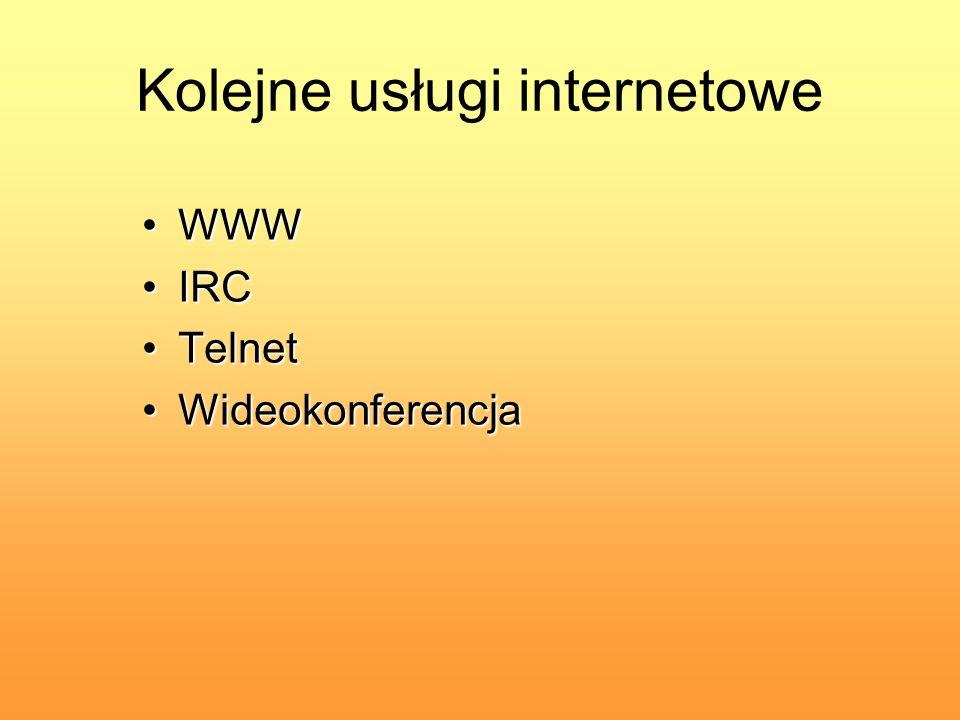 Kolejne usługi internetowe WWWWWW IRCIRC TelnetTelnet WideokonferencjaWideokonferencja