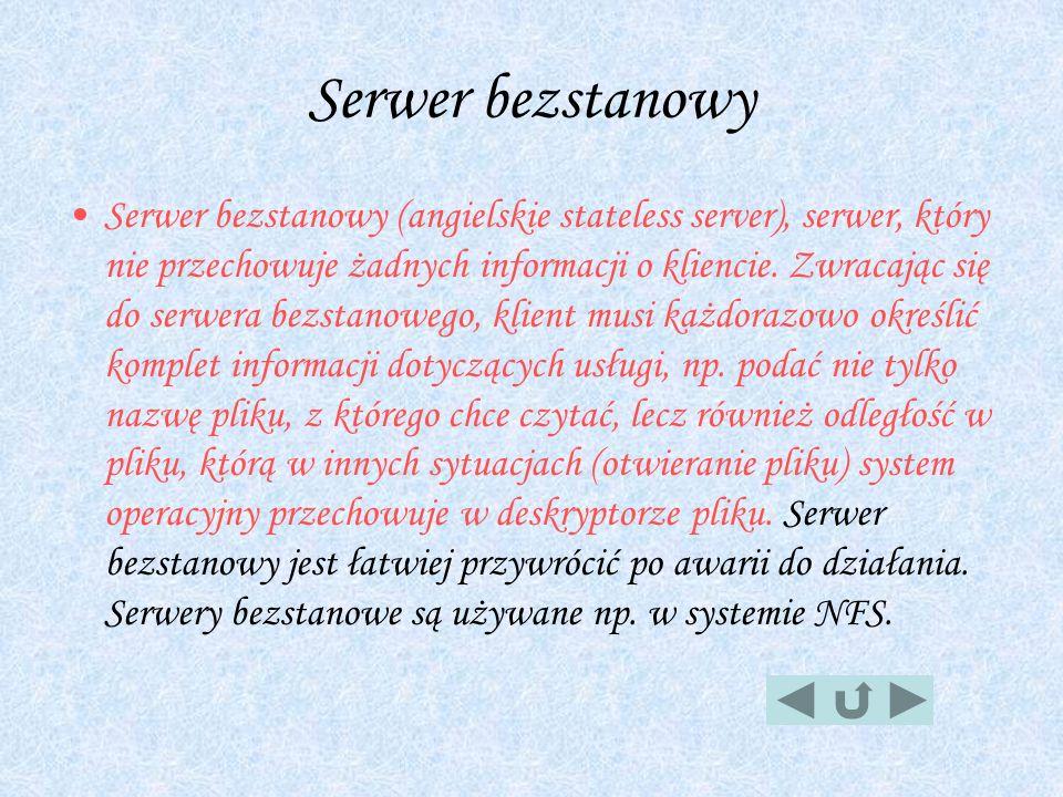 Serwer bezstanowy Serwer bezstanowy (angielskie stateless server), serwer, który nie przechowuje żadnych informacji o kliencie. Zwracając się do serwe