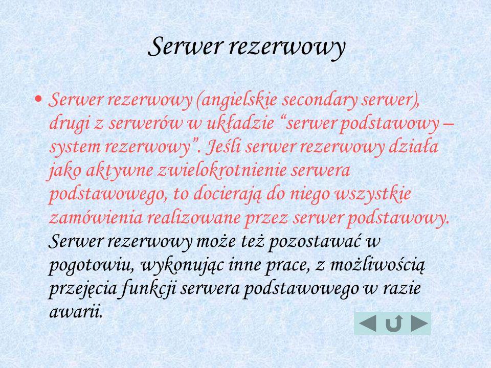 Serwer rezerwowy Serwer rezerwowy (angielskie secondary serwer), drugi z serwerów w układzie serwer podstawowy – system rezerwowy. Jeśli serwer rezerw