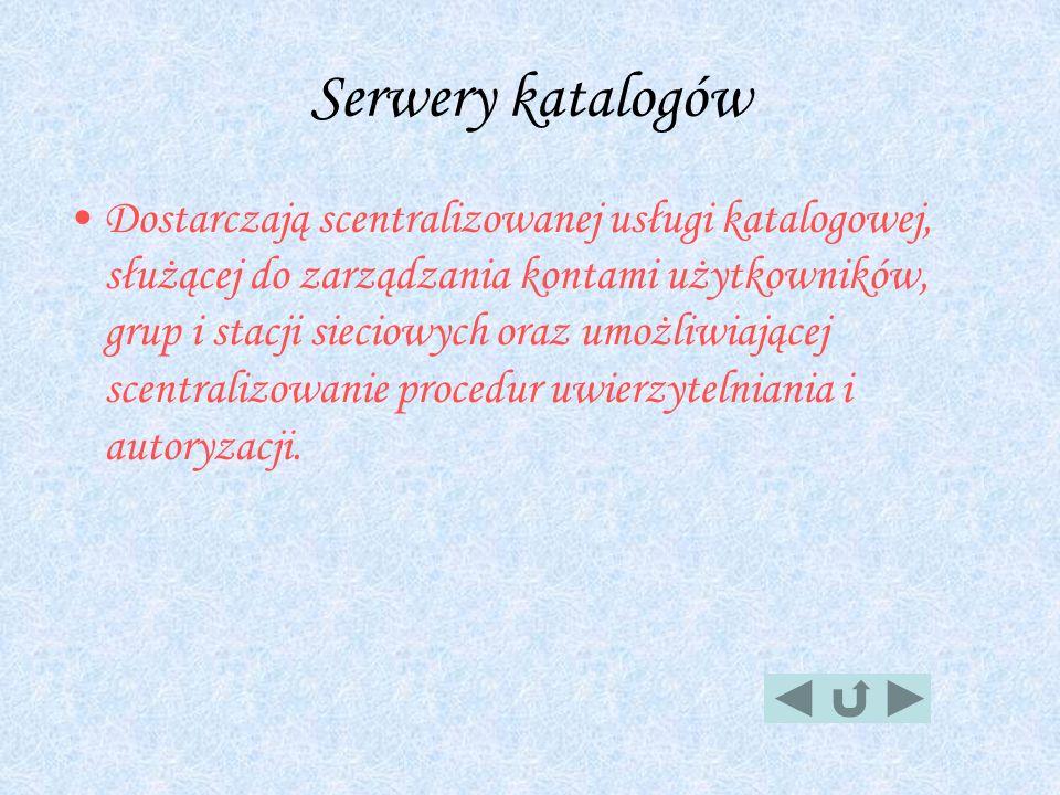 Serwery katalogów Dostarczają scentralizowanej usługi katalogowej, służącej do zarządzania kontami użytkowników, grup i stacji sieciowych oraz umożliw