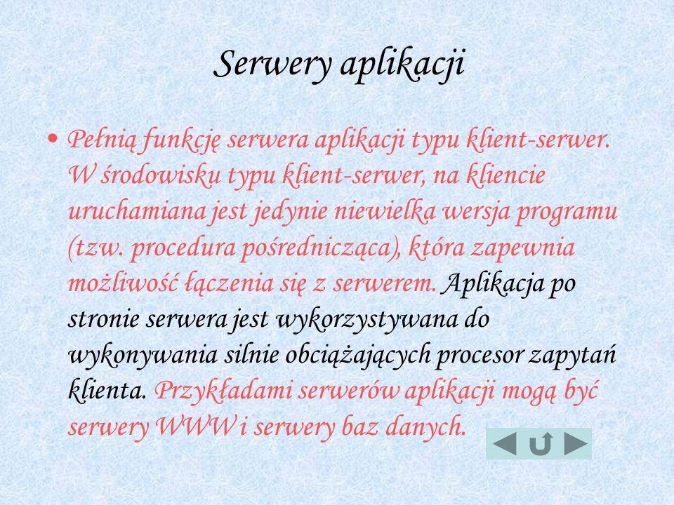 Serwery aplikacji Pełnią funkcję serwera aplikacji typu klient-serwer. W środowisku typu klient-serwer, na kliencie uruchamiana jest jedynie niewielka