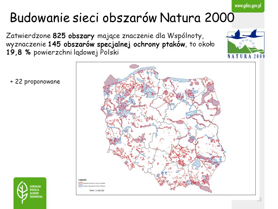 Zatwierdzone 825 obszary mające znaczenie dla Wspólnoty, wyznaczenie 145 obszarów specjalnej ochrony ptaków, to około 19,8 % powierzchni lądowej Polsk