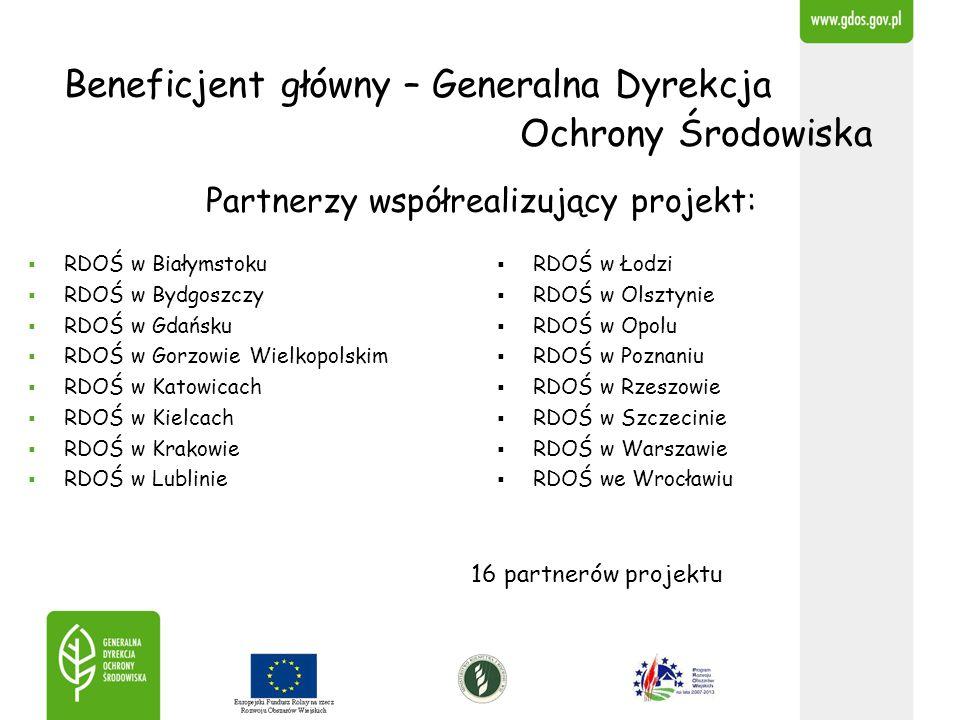 Beneficjent główny – Generalna Dyrekcja Ochrony Środowiska Partnerzy współrealizujący projekt: RDOŚ w Białymstoku RDOŚ w Bydgoszczy RDOŚ w Gdańsku RDO