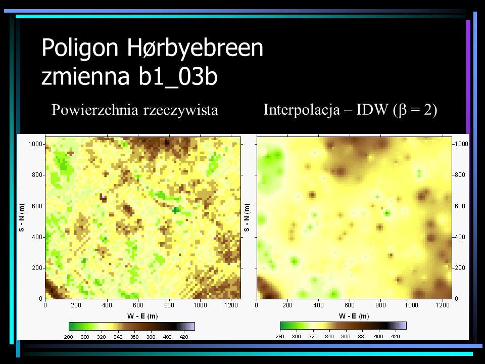 Poligon Hørbyebreen zmienna b1_03b Powierzchnia rzeczywista Interpolacja – IDW ( = 2)