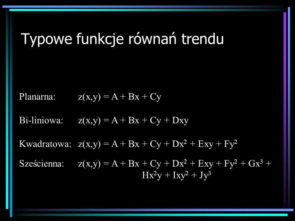 Typowe funkcje równań trendu Planarna:z(x,y) = A + Bx + Cy Bi-liniowa:z(x,y) = A + Bx + Cy + Dxy Kwadratowa:z(x,y) = A + Bx + Cy + Dx 2 + Exy + Fy 2 S