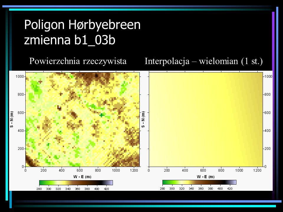 Poligon Hørbyebreen zmienna b1_03b Powierzchnia rzeczywista Interpolacja – wielomian (1 st.)