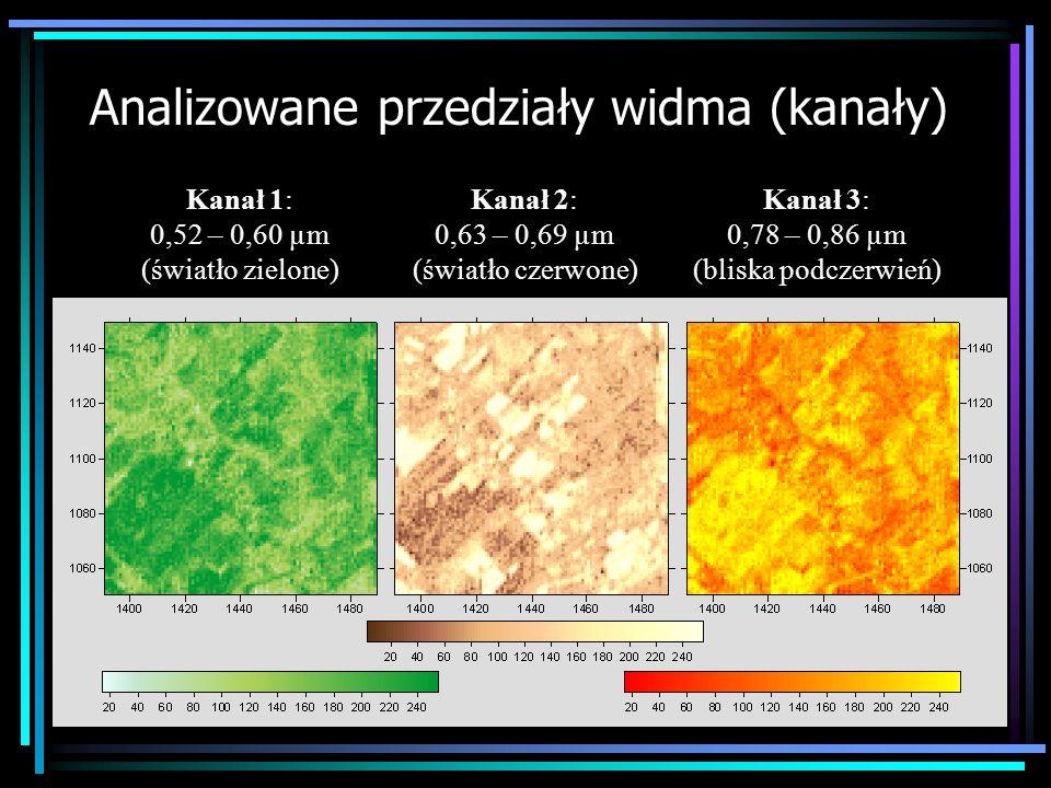 Analizowane przedziały widma (kanały) Kanał 1: 0,52 – 0,60 µm (światło zielone) Kanał 2: 0,63 – 0,69 µm (światło czerwone) Kanał 3: 0,78 – 0,86 µm (bl