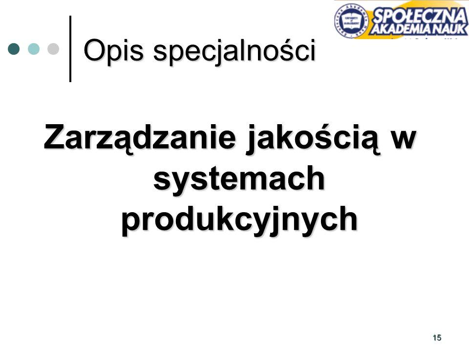 15 Opis specjalności Zarządzanie jakością w systemach produkcyjnych