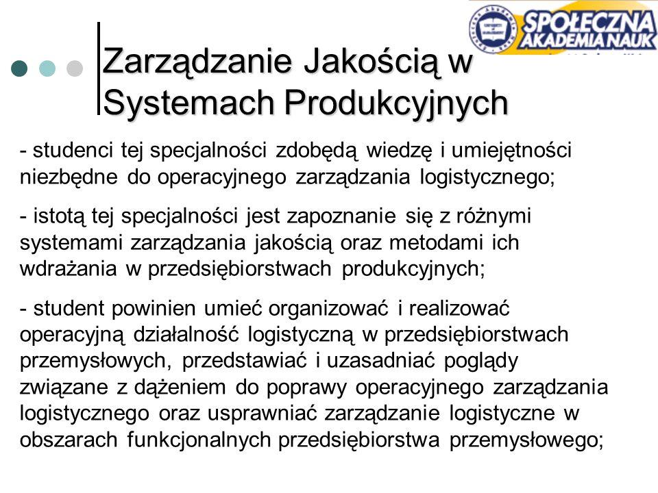 Zarządzanie Jakością w Systemach Produkcyjnych - studenci tej specjalności zdobędą wiedzę i umiejętności niezbędne do operacyjnego zarządzania logisty