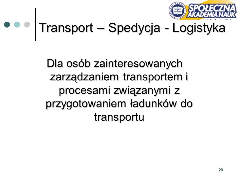 20 Dla osób zainteresowanych zarządzaniem transportem i procesami związanymi z przygotowaniem ładunków do transportu