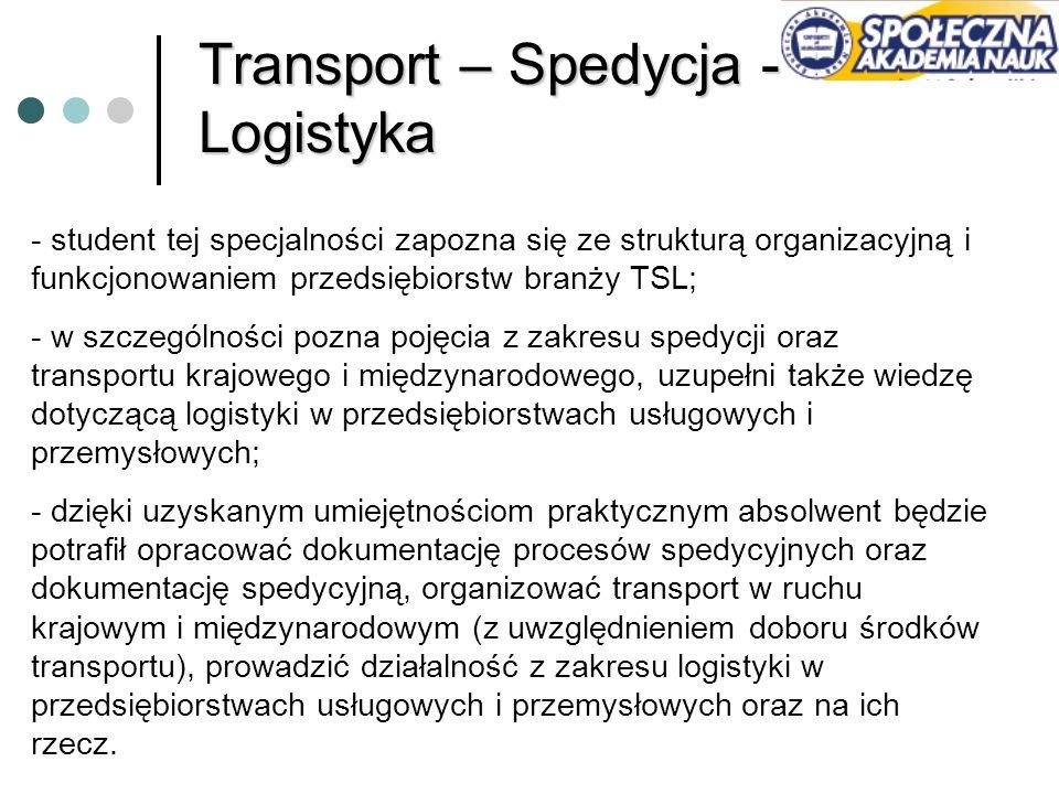 Transport – Spedycja - Logistyka - student tej specjalności zapozna się ze strukturą organizacyjną i funkcjonowaniem przedsiębiorstw branży TSL; - w s