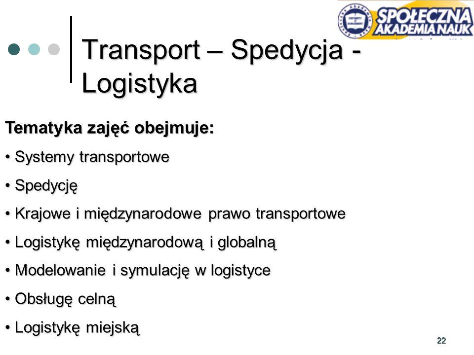 22 Transport – Spedycja - Logistyka Tematyka zajęć obejmuje: Systemy transportowe Systemy transportowe Spedycję Spedycję Krajowe i międzynarodowe praw