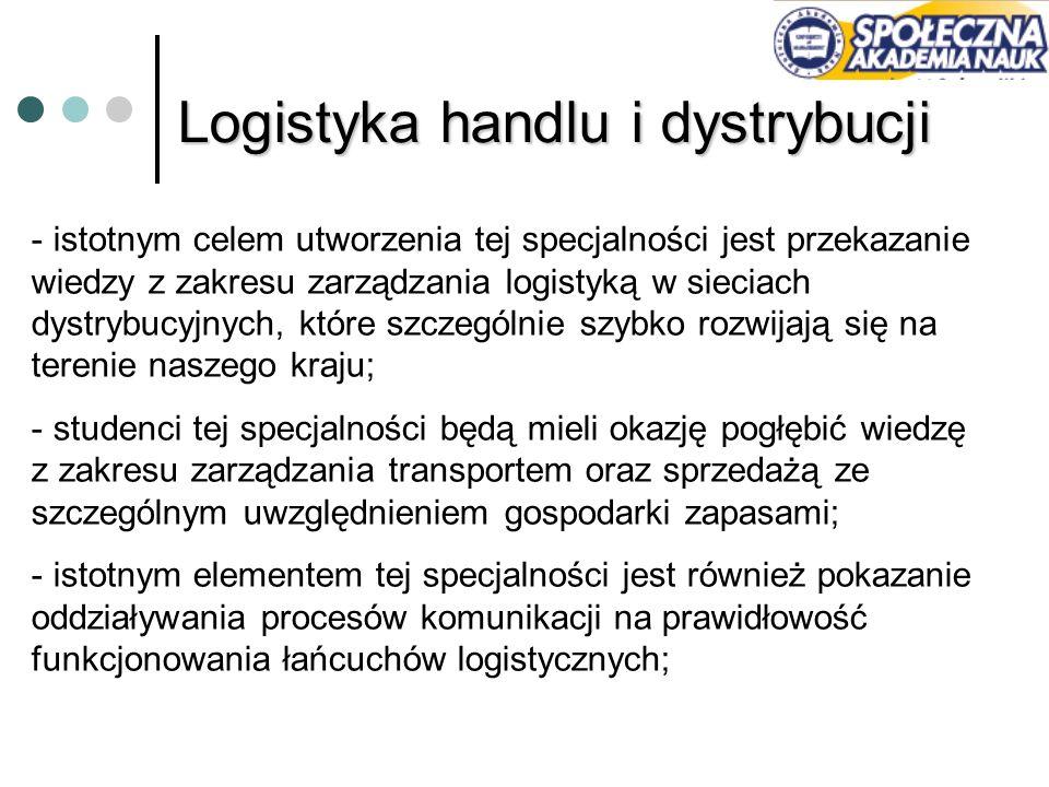 Logistyka handlu i dystrybucji - istotnym celem utworzenia tej specjalności jest przekazanie wiedzy z zakresu zarządzania logistyką w sieciach dystryb