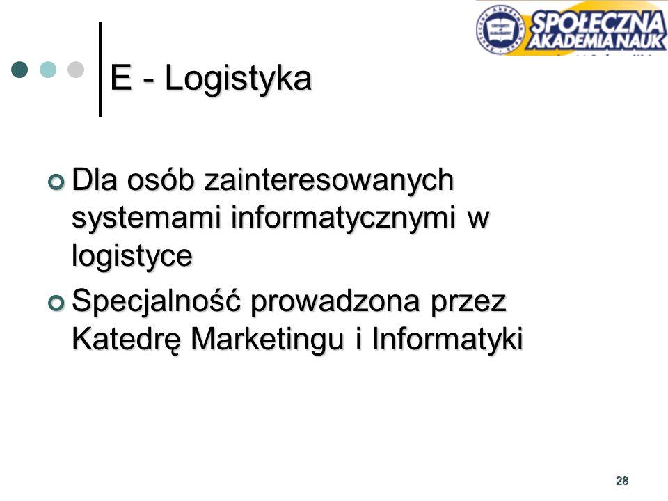 28 Dla osób zainteresowanych systemami informatycznymi w logistyce Dla osób zainteresowanych systemami informatycznymi w logistyce Specjalność prowadz