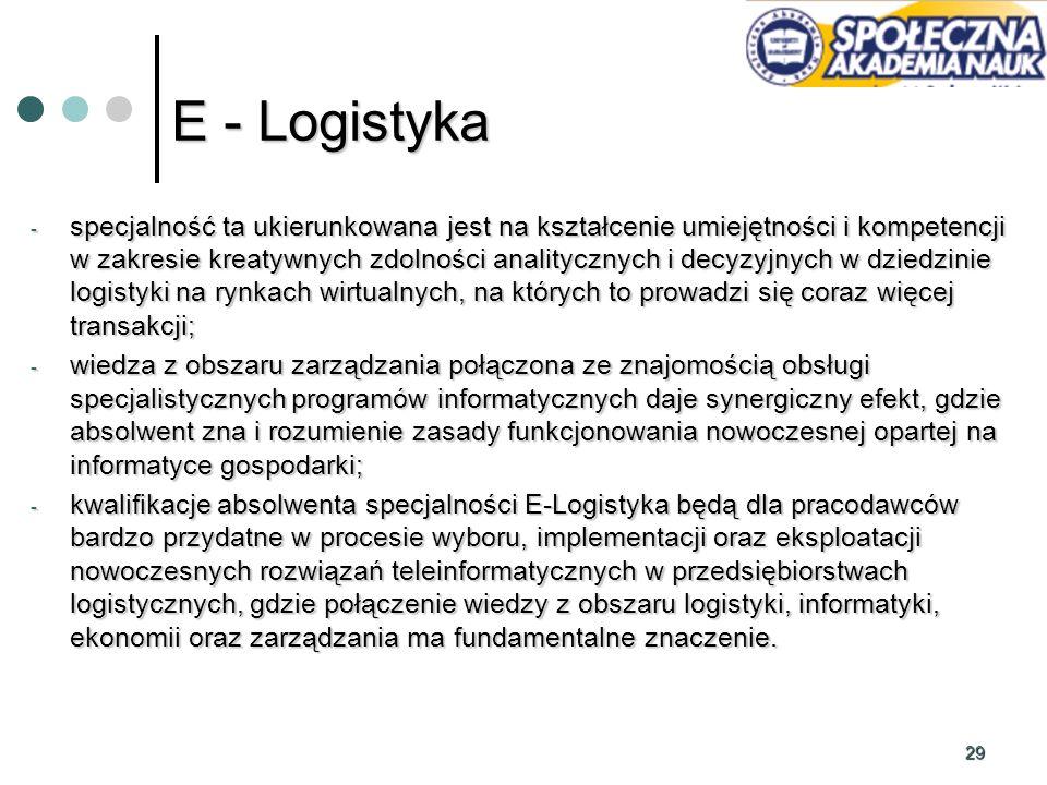 29 E - Logistyka - specjalność ta ukierunkowana jest na kształcenie umiejętności i kompetencji w zakresie kreatywnych zdolności analitycznych i decyzy