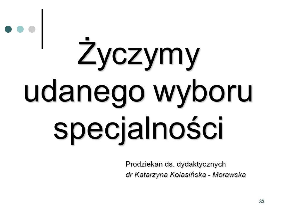 33 Życzymy udanego wyboru specjalności Prodziekan ds. dydaktycznych dr Katarzyna Kolasińska - Morawska