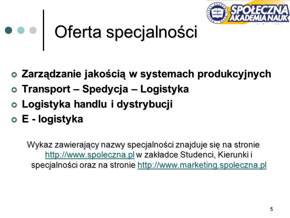 5 Oferta specjalności Zarządzanie jakością w systemach produkcyjnych Zarządzanie jakością w systemach produkcyjnych Transport – Spedycja – Logistyka T