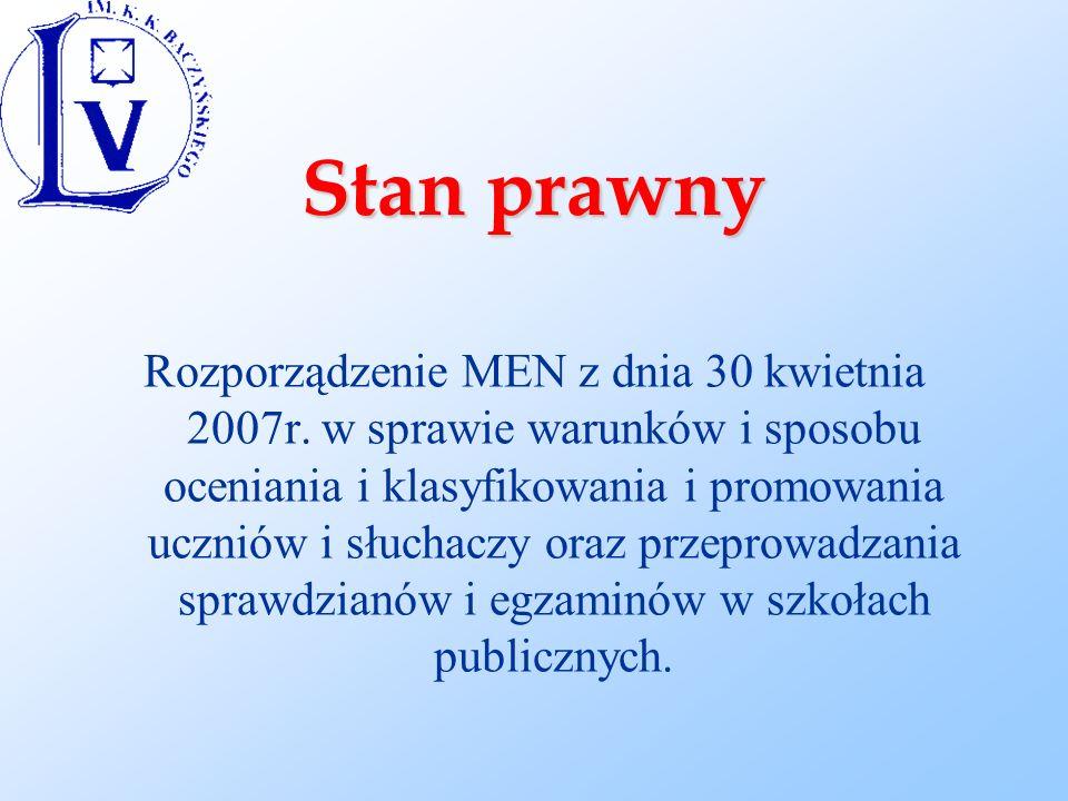 Stan prawny Rozporządzenie MEN z dnia 30 kwietnia 2007r.