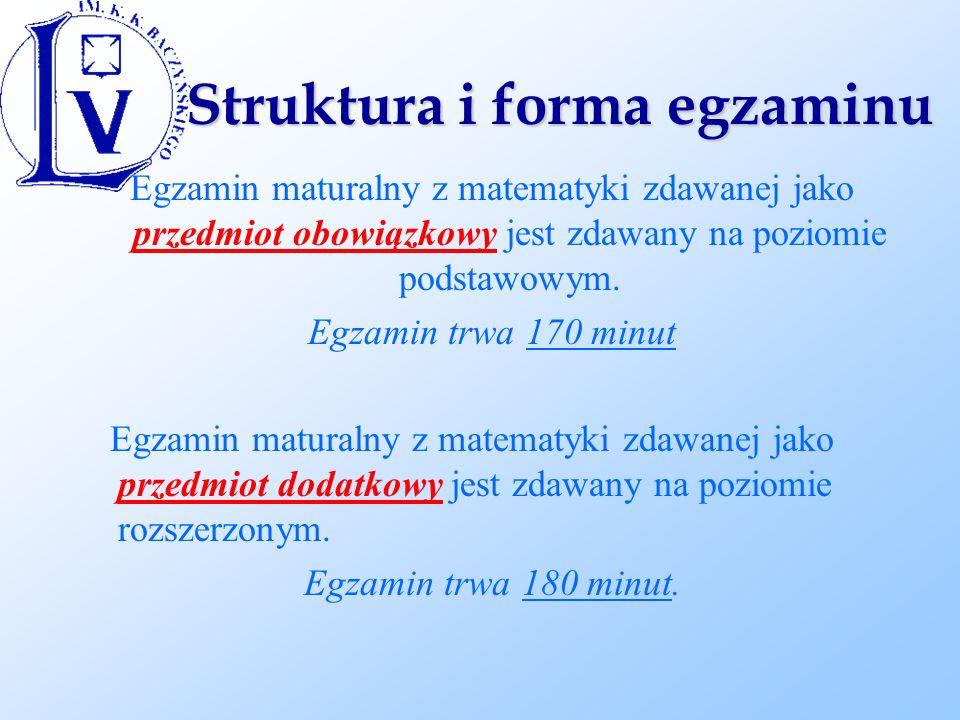 Struktura i forma egzaminu Egzamin maturalny z matematyki zdawanej jako przedmiot obowiązkowy jest zdawany na poziomie podstawowym.
