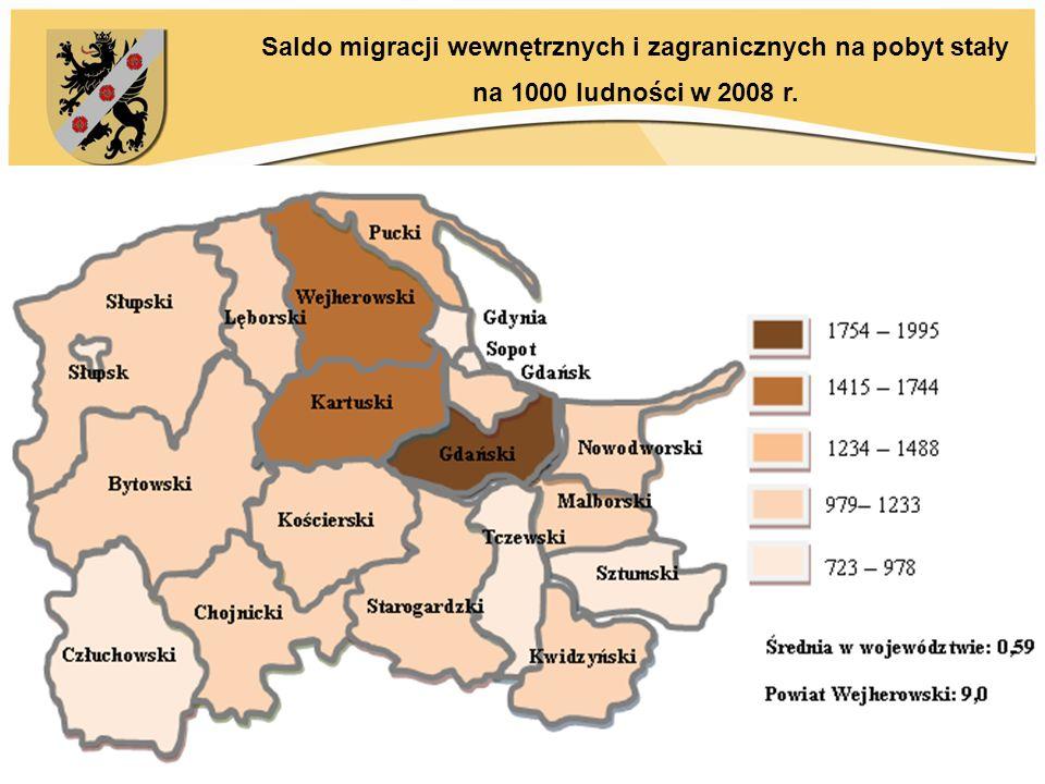 Saldo migracji wewnętrznych i zagranicznych na pobyt stały na 1000 ludności w 2008 r.