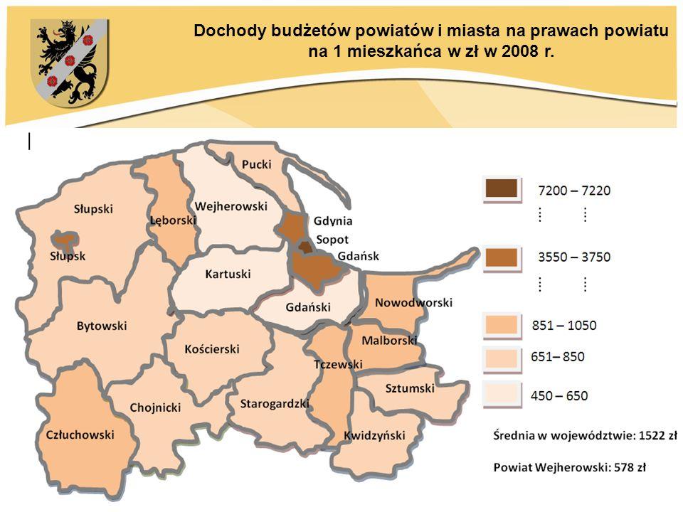 Dochody budżetów powiatów i miasta na prawach powiatu na 1 mieszkańca w zł w 2008 r.