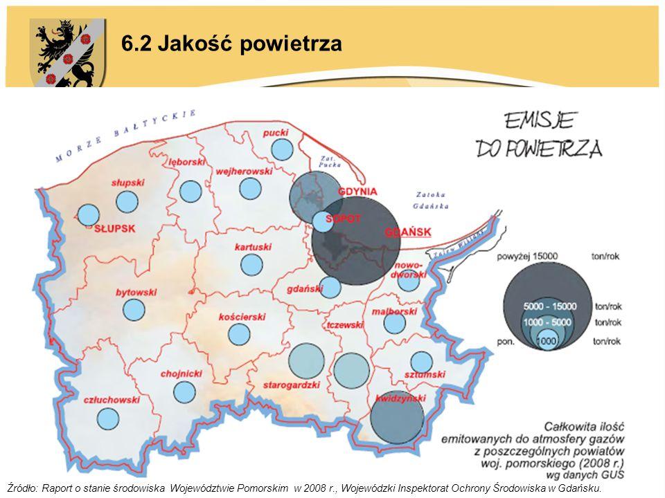 6.2 Jakość powietrza Źródło: Raport o stanie środowiska Województwie Pomorskim w 2008 r., Wojewódzki Inspektorat Ochrony Środowiska w Gdańsku.