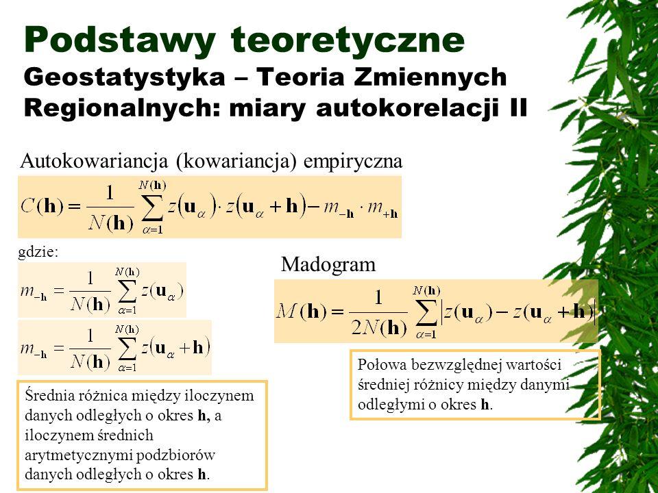 Podstawy teoretyczne Geostatystyka – Teoria Zmiennych Regionalnych: miary autokorelacji II Autokowariancja (kowariancja) empiryczna Madogram Połowa be
