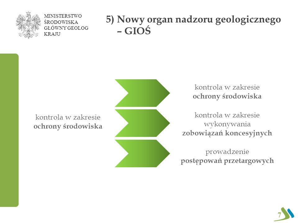 5) Nowy organ nadzoru geologicznego – GIOŚ kontrola w zakresie ochrony środowiska kontrola w zakresie wykonywania zobowiązań koncesyjnych prowadzenie postępowań przetargowych kontrola w zakresie ochrony środowiska 7 MINISTERSTWO ŚRODOWISKA GŁÓWNY GEOLOG KRAJU