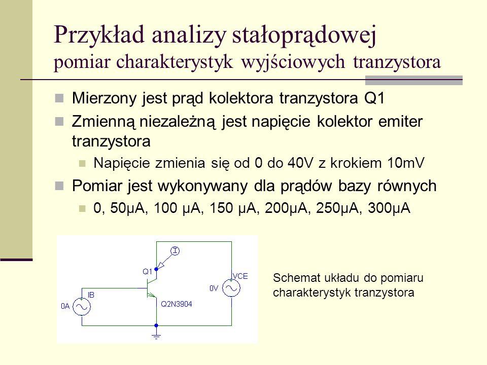 Przykład analizy stałoprądowej pomiar charakterystyk wyjściowych tranzystora Mierzony jest prąd kolektora tranzystora Q1 Zmienną niezależną jest napięcie kolektor emiter tranzystora Napięcie zmienia się od 0 do 40V z krokiem 10mV Pomiar jest wykonywany dla prądów bazy równych 0, 50μA, 100 μA, 150 μA, 200μA, 250μA, 300μA Schemat układu do pomiaru charakterystyk tranzystora