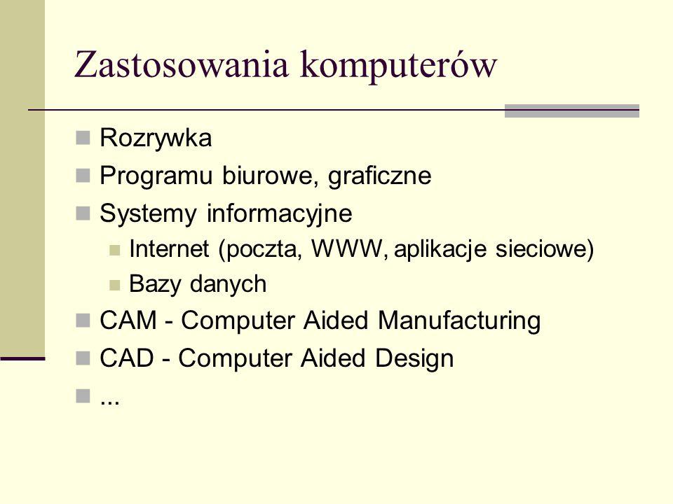 Rozrywka Programu biurowe, graficzne Systemy informacyjne Internet (poczta, WWW, aplikacje sieciowe) Bazy danych CAM - Computer Aided Manufacturing CAD - Computer Aided Design...