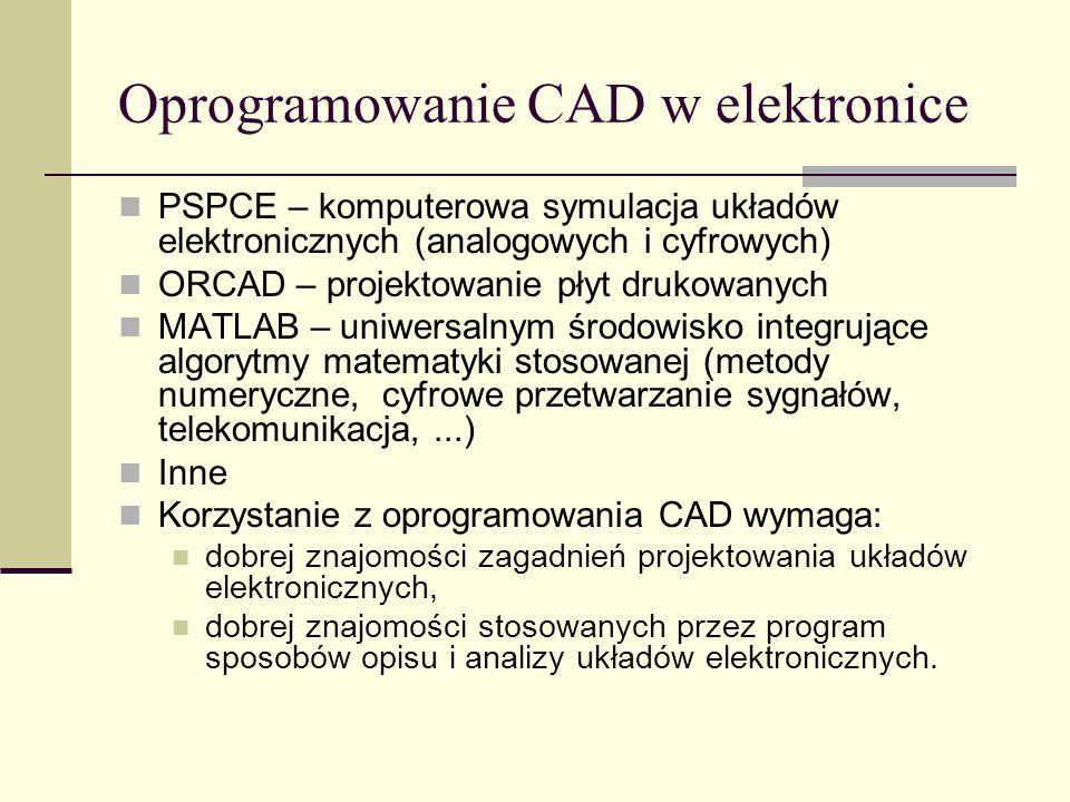 Oprogramowanie CAD w elektronice PSPCE – komputerowa symulacja układów elektronicznych (analogowych i cyfrowych) ORCAD – projektowanie płyt drukowanych MATLAB – uniwersalnym środowisko integrujące algorytmy matematyki stosowanej (metody numeryczne, cyfrowe przetwarzanie sygnałów, telekomunikacja,...) Inne Korzystanie z oprogramowania CAD wymaga: dobrej znajomości zagadnień projektowania układów elektronicznych, dobrej znajomości stosowanych przez program sposobów opisu i analizy układów elektronicznych.